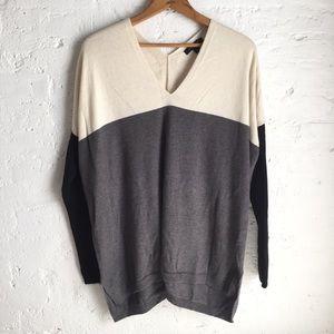 Ann Taylor colorblock hi-low sweater